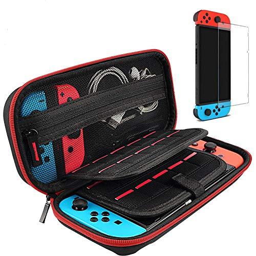 daydayup Custodia in Vetro temperato e Protezione dello Schermo per Nintendo Switch - Custodia Rigida per Console Nintendo Switch e Accessori Rosso