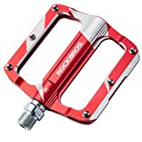 ROCKBROS Mountain Bike Pedals Flat Bicycle MTB Pedals 9/16 Lightweight Road Bike Pedals Carbon Fiber Sealed Bearing Flat Pedals Red