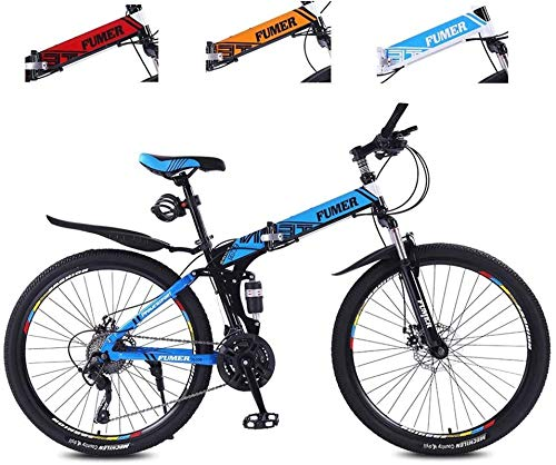 Product Image 1: Road Bikes Mountain Bikes for Adults,Foldable MTB Ebikes for Men Women Ladies, All Terrain 24/26inch Mountain Bike ,Small Space Storage Folding Bicycle Comfortable Seats (Color : Black Blue, Size :