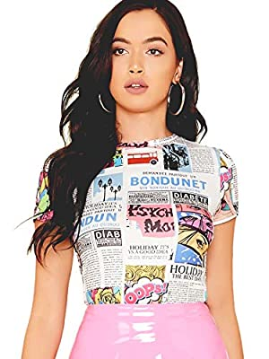 Features: Casual, Newspaper Print, Round Neck, Short Sleeve, Slim Fabric is Stretchy, Soft and Comfortable Occasion: Weekend Casual, Office Wear, Holidays, Party or Daily Life Bust Size: (XS)31.5 inch; (S)33.0 inch; (M)34.7 inch; (L)37.0 inch; (XL)39...