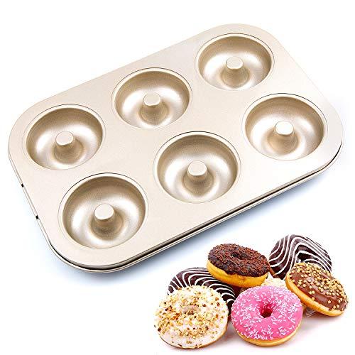 Remebe Molde de Donuts con 6 Cavidades, Capa Antiadherente Molde de Pastel para Pasteles Muffin Hecho a Mano, Bandeja para Hornear de Dount de Acero al Carbono, 26.5 x 18.5 x 2.3cm Oro Champagne
