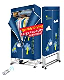 KASYDoFF Clothes Dryer Portable 1500W-1.7 Meters 3-Tier Foldable Clothes Drying Rack Energy Saving (Anion) Clothing Dryers Digital Automatic Timer with Remote Control for Apartment Houses
