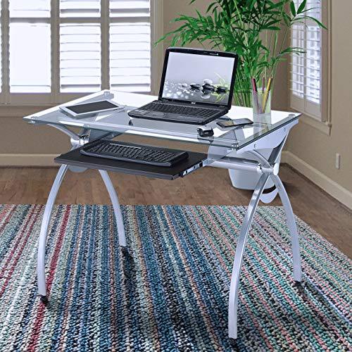Techni Mobili Contempo Glass Top Computer Desk with Pull Out...