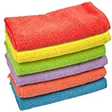 KMAKII Microfiber Cleaning Cloths Best Kitchen Dish Cloths Microfiber Towel for Dish Car Washing 13.7 by 13.7-inch,6 Colors - 6 Pieces
