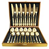 Flatware Set, Magicpro Modern Royal 24-Pieces gold Stainless Steel Flatware for Wedding...