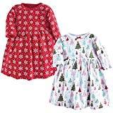 Hudson Baby Toddler and Baby Girl Cotton Dresses, Sparkle Trees 2 Pack, 9-12 Months (12M)