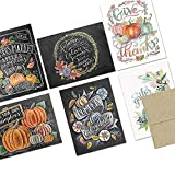 Note Card Cafe Thanksgiving Greeting Card Set with Envelopes | 72 Pack | Blank Inside, Glossy Finish | 6 Pumpkin Everything Designs | Bulk Set for Greeting Cards, Occasions, Birthdays