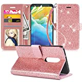 LG Stylo 5 Case,LG Stylo 5 plus Case,LG Stylo 5 Wallet Case W/Screen Protector [2 Pack]/Kickstand/Credit Card Slots,Wrist Strap PU Leather Bling Glitter Flip Case Wallet Cover for Girls Women,Rosegold