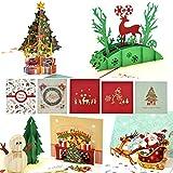Tarjetas de Navidad 3D, eZAKKA Tarjetas de Navidad 3D Pop Up Tarjetas de regalos de felicitacin navidea Tarjetas con sobres para Navidad Feliz Navidad Ao Nuevo, Calidad Premim, Paquete de 5