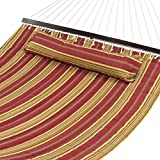Best Choice Products Quilted Double Hammock w/Detachable Pillow, Spreader Bar - Burgundy/Tan Stripe