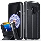 Galaxy S9 Wallet Case, Vena [vCommute][Military Grade Drop Protection] Flip Leather Cover Card Slot Holder with Kickstand for Samsung Galaxy S9 (Space Gray/Black)