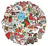 FENGLING Pegatinas de Navidad Ciervos Papá Noel muñeco de Nieve niños Regalo Pegatina para monopatín Graffiti Maleta Pegatina para Equipaje 50 Piezas