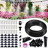 """XDDIAS Misting Cooling System for Patio, 78.74 FT(24M) PE Misting Line+30 Mist Nozzles+A Faucet Adapter(3/4"""") Water Mister for Outside Garden Umbrellas Greenhouse Trampoline Waterpark"""