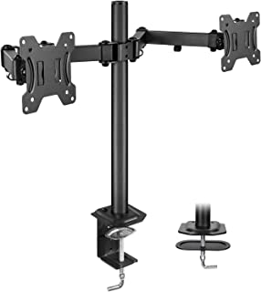 """HUANUO Dual Monitor Stand Mount, Fully Adjustable LCD Monitor Desk Mount Fits 13"""" to.."""