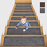 MBIGM 8' X 30' (15 in Pack) Non-Slip Carpet Stair Treads Non-Skid Safety Rug Slip Resistant Indoor Runner for Kids Elders and Pets with Reusable Adhesive, Grey