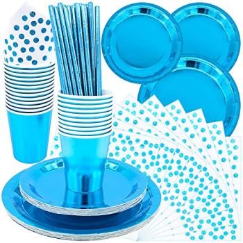 BLLREMIPSUR 99pcs Disposable Tableware Set, Blue Party Dinnerware, Blue Background Will Enhance Your Table Layout and Match any Party Theme
