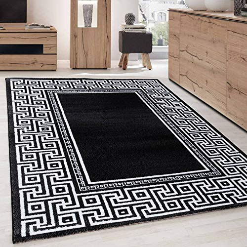 Ayyildiz Teppich - Tappeto dal design moderno, geometrico, bordo in versace, colore: Nero/Bianco,...