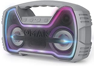 AOMAIS 25W Bluetooth Speakers with HD Stereo Sound & Deep Bass, Portable Outdoor Wireless Stereo Pairing Speaker, IPX7 Waterproof, Built-in Mic, 100ft Bluetooth Range for Party, Camping, Travel - Grey