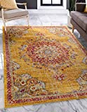 Unique Loom Penrose Collection Traditional Vintage Distressed Area Rug, 8 x 10 Feet, Gold/Red