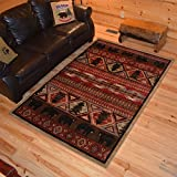 Rustic Lodge Bear Pine Tree 8x10 Red Area Rug, 7'10'x9'10' 6970