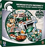 Michigan state Spartans helmet shaped puzzle Officially licensed collegiate product 500 pieces in finished 22 inch by 25 inch puzzle Masterpieces - an American puzzle & GAME company. We stand behind our products and guarantee your satisfaction Thick ...