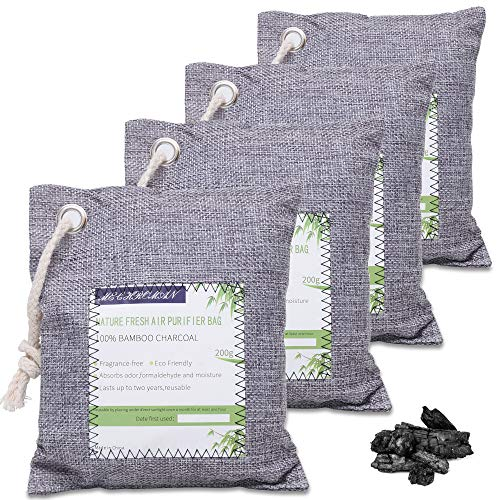 4 Pack of 200g Activated Charcoal Air Purifying Bags, MECHROMAN Charcoal Bags Odor Absorber for Home and Car (Kid and Pet Friendly) - Naturally Freshen Purifying Air