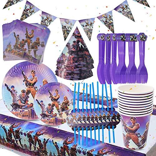 BESLIME Game Party Supplies Vajilla para fiestas Diseño Incluye pancartas, platos, tazas, servilletas, gorro, cuchara, tenedores y cuchillos Video Gaming Party Supplies, 87 piezas