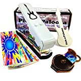 Pick-a-Palooza DIY Guitar Pick Punch Mega Gift Pack - the Premium Pick Maker - Leather Key Chain Pick Holder, 15 Pick Strips and a Guitar File - White