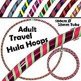 PRO Hula Hoops Reifen für Anfänger und Profis 3-FARBIG (Ultra-Grip/Glitter Deco) Faltbarer TRAVEL Hula Hoop...