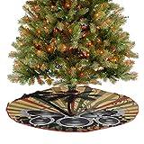 Homesonne Falda de árbol de Navidad de lujo, con diseño de palmeras, a rayas, ombre, para decoración de fiestas de Navidad, color rojo, marrón, verde, negro, gris, 122 cm