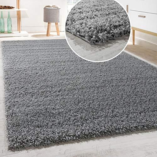 Tappeto Shaggy/A Pelo Alto/A Pelo Lungo/Tappeto A Tinta Unita in Grigio, Dimensione:160x220 cm