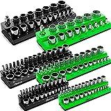 Olsa Tools Magnetic Socket Organizer | 6 Piece Socket Holder Set | 1/2-inch, 3/8-inch, & 1/4-inch Drive | Metric Black, SAE Green | Holds 143 Sockets | Professional Quality Tool Organizers