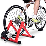 Sportneer Bike Trainer Stand Steel Bicycle Exercise Magnetic Stand with Noise Reduction Wheel for Road Bike, Red