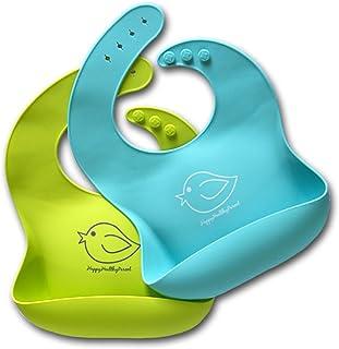 Silicone Baby Bibs Easily Wipe Clean – Comfortable Soft Waterproof Bib Keeps Stains..