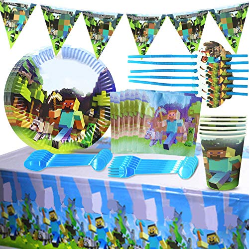 BESLIME Mine Theme Gaming Artículos de fiesta Cumpleaños para niños Platos de fiesta desechables Tazas Servilletas Mantel Papel Banner-Servir 6 invitados