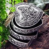 Classic 3-Tercer rotación de caja de anillo, en forma de corazón de la vendimia de la joyería caja de metal anillos baratija, exquisitamente Europea talla joyería Organizador, único recuerdo de la Nav