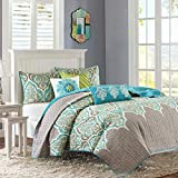 Madison Park MP13-1683 Nisha 6 Piece Quilted Coverlet Set, King/Cal King, Teal