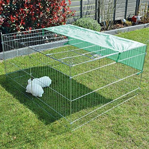 zooprinz wetterfestes Freilaufgehege mit festem Dach und Sonnenschutz - ideal für Deine Kleintiere draußen - Besonders stabiles Metall - platzsparend vers-taubar - 3 Größen zur Wahl (M)