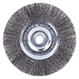 EMILYPRO 6' Bench Wire Wheel Brush | Coarse Crimped Steel Wire 0.012' with 1/2' and 5/8' Arbor for Bench Grinder - 1pcs