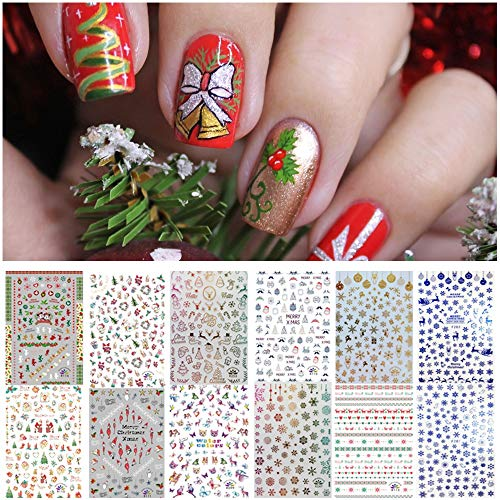 1000 Patterns Christmas Nail Art Stickers Decals, Kalolary Self-adhesive Nail Stickers Santa Claus Snowflake Snowman Christmas Bell Tree Stick Elk for Christams Nail Decorations (12 Sheets Large Size)