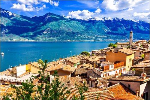 Poster 30 x 20 cm: Beautiful Limone Village, Panoramic View, Lago di Garda, Italy di Editors Choice - Stampa Artistica Professionale, Nuovo Poster Artistico
