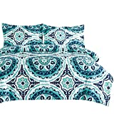Wake In Cloud - Teal Comforter Set, Turquoise and Navy Blue Bohemian Boho Chic Mandala Medallion Pattern Printed on White, Soft Microfiber Bedding (3pcs, Queen Size)