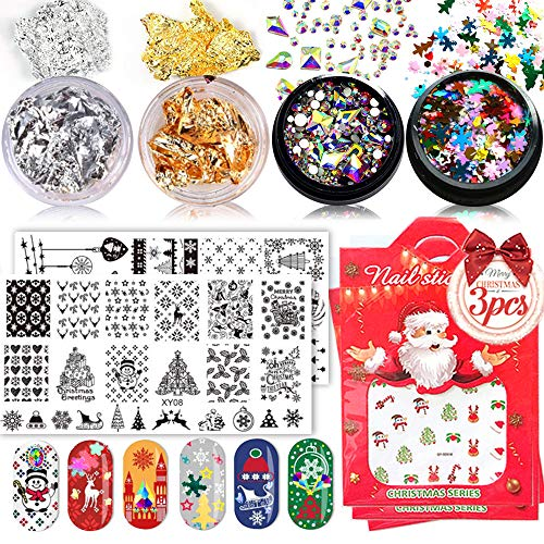 Christmas Nail Stamping Plates Valentines Day , Snowflakes Nail Art Glitters Confetti, Nail Paillette Chip Foil, Crystal AB Flatback Round Multi Shapes Rhinestones, Christmas Nail Decals Stickers, Nail Art Gift