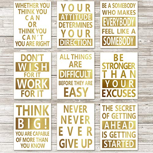 9 Pieces Gold Foil Inspirational Art Poster Motivational Quote Poster...
