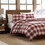 Eddie Bauer Edgewood Collection Plush Super Soft Micro-Suede Premium Quality Down Alternative Comforter With Matching Shams, 3-Piece Bedding Set, Reversible Plaid, Full/Queen, Red