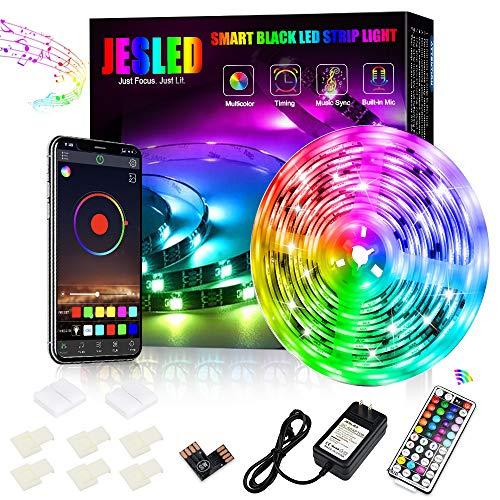 Striscia LED 5m, JESLED Bluetooth Striscia LED RGB Sincronizzazione musicale, Strisce LED 5050 RGB...