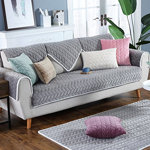 OstepDecor Couch Cover, Sofa Cover, Sectional Couch Covers Anti-Slip Sofa Slipcover for Dogs Cats Pet Love Seat 3 Cushion Couch Cover, Grey 36 x 70 Inches