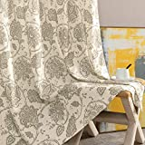 jinchan Floral Scroll Printed Linen Curtains, Grommet Top - Ikat Flax Textured Medallion Design Jacobean Curtains Retro Living Room Curtain Sets (Taupe, 50' x 84', 2 Panels)
