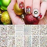 Kalolary 12 Diseños Pegatinas Navidad Uñas De Transferencia Nail Art Christmas Nail Stickers Deer Gift Snowflakes Image Winter Decorations para...