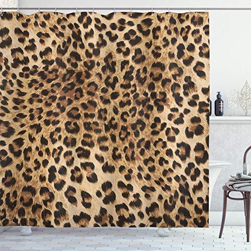 Ambesonne Leopard Print Shower Curtain, Skin Pattern of a Wild Safari...